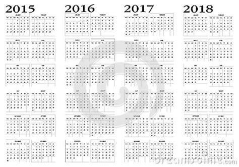 Kalender Tot 2018 Kalender 2015 Tot 2018 Vector Illustratie Afbeelding