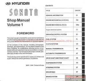 hyundai sonata 1999 service manual auto repair manual