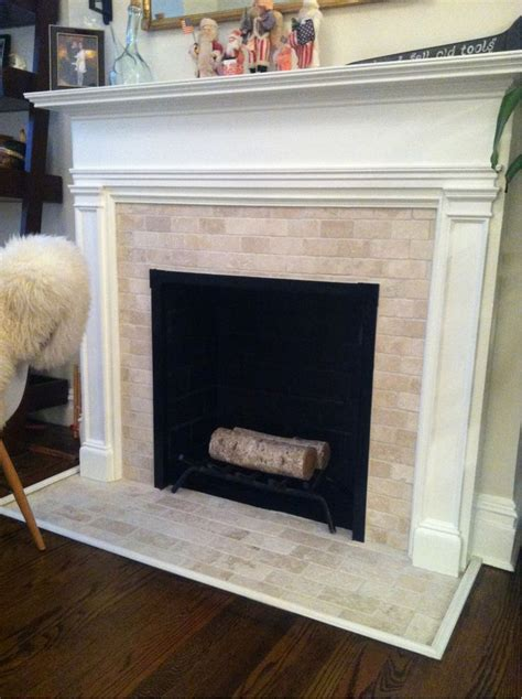 finito travertine subway tile fireplace thefan home