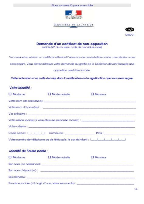 Lettre Demande De Jours Pacs Demande D Un Certificat De Non Opposition Formulaire Cerfa Documentissime