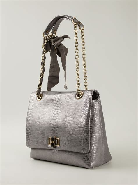 Lanvin Silver lanvin happy leather shoulder bag in silver metallic lyst
