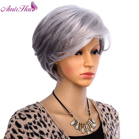 ladies new fashion trend alert grey hair weave is the new fad in amir hair women short wigs for old women synthetic grey