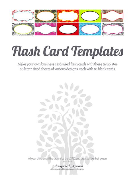 colorful flash card templates antiquated notions
