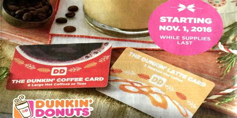 dunkin donuts holiday coffee card    large hot coffee  teas   medium hot lattes