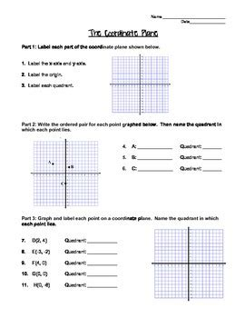Graphing On The Coordinate Plane Worksheet