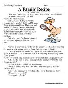Reading comprehension worksheet a family recipe