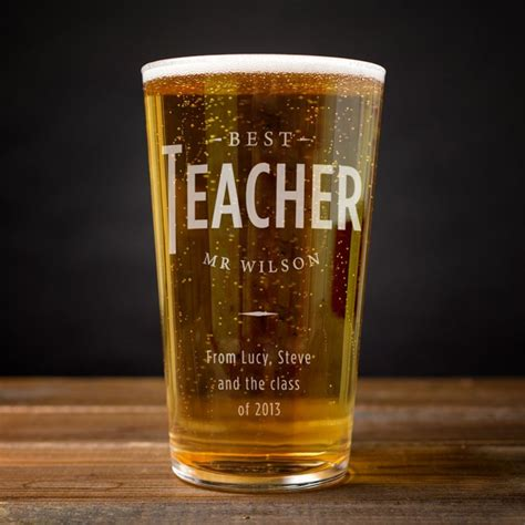 Card Factory Gifts For Teachers - personalised best teacher pint glass card factory