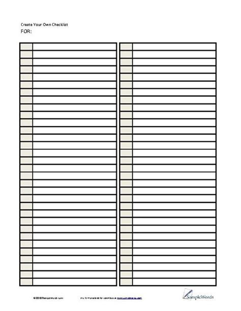 template for list of names lists printable forms templates sles charts