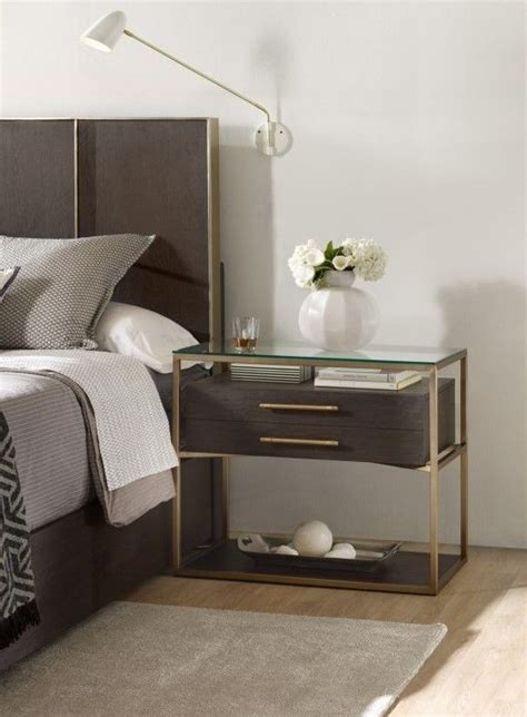 chic wooden nightstand   brass frame