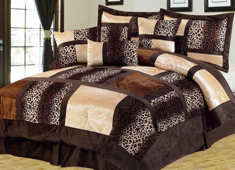 animal print bedroom 7pc brown safari leopard micro suede soft non slip bed in
