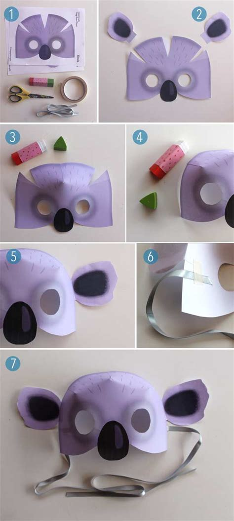 cards mask templates free koala mask pdf to print at home 12 animal mask templates
