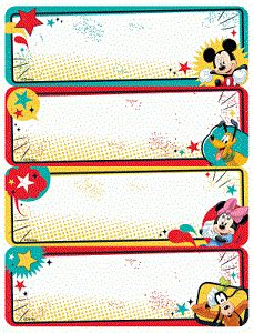 Stiker Label Nama Mickey Mouse label name tag stickers for field trips student folders
