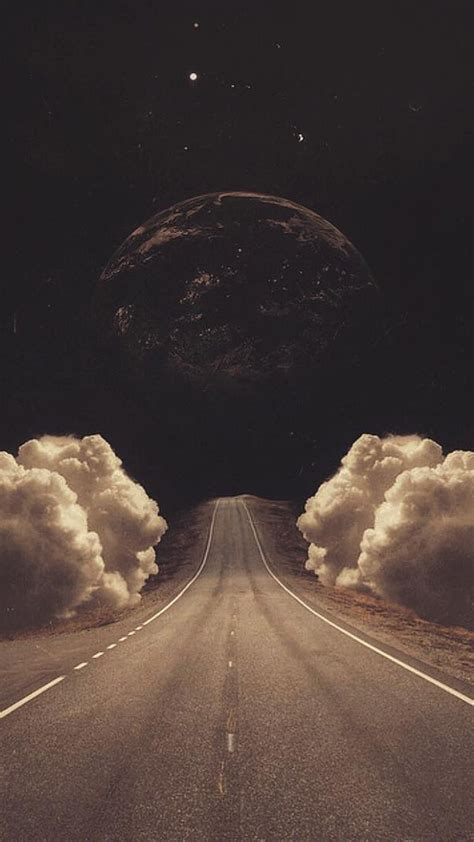 surreal art collage road clouds planet iphone