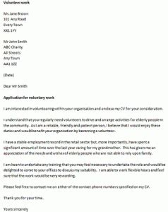 letter of application charity work volunteer covering letter exle icover org uk
