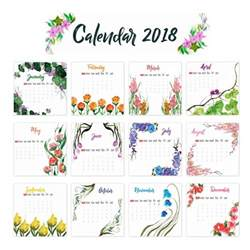 Calendario 2018 Descargar 2018 Calendar Floral Design Vector Free