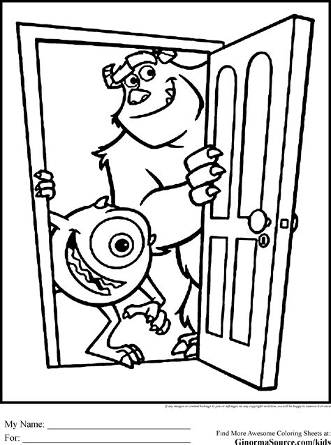 monsters inc coloring pages pdf monsters inc coloring pages mike and sulley coloring