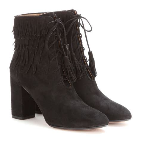 aquazzura boots aquazzura woodstock fringed suede ankle boots in black lyst