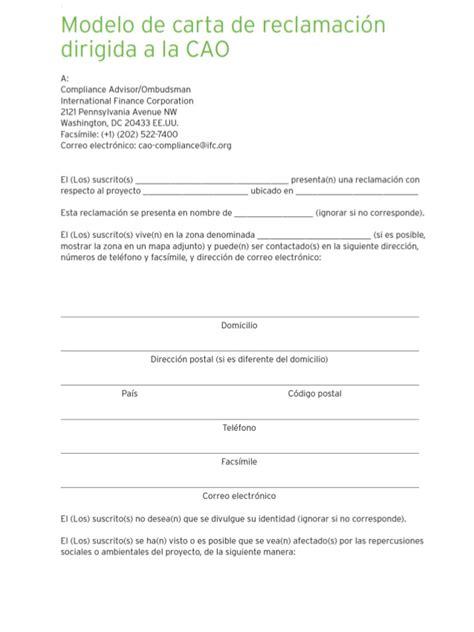 modelos de cartas de reclamacion de facturas modelo carta de reclamacion intervencion de cao