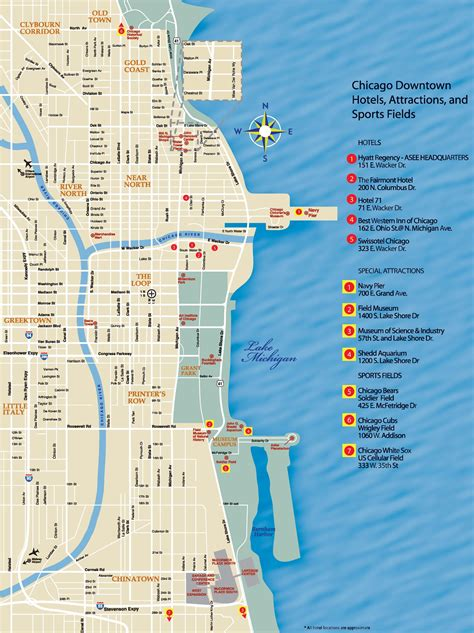 chicago on the map chicago downtown map printable printable maps