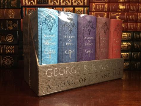 game of thrones hardcover collection set george r r game of thrones box set by george r martin sealed leather cloth song fire ice ebay