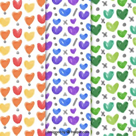 watercolor pattern download watercolor hearts patterns vector free download