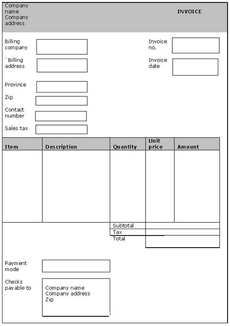 generic invoice template free free blank table templates search results calendar 2015