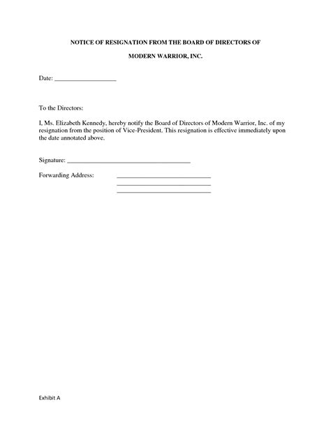 Sle Letter Of Resignation From Board Of Directors by Resignation Letter Format Template Version Of Board