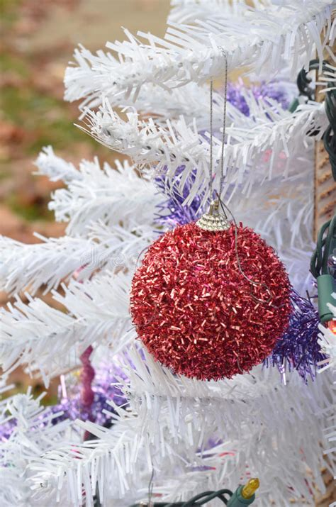 white furry fluffy christmas trees fuzzy glitter ornament hanging white tree stock image image 81946337