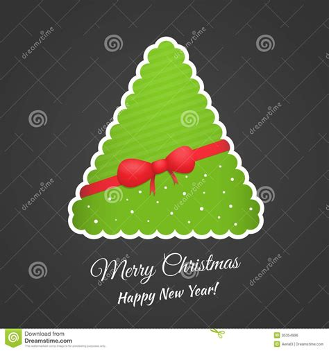 3d paper christmas tree with ribbon paper tree with bow and ribbon vector royalty free stock image image 35354996