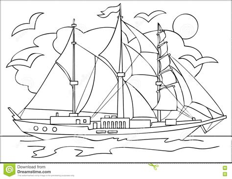 coloring book for relaxation sailing ships books page with black and white drawing of sailing ship for