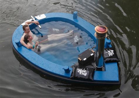 floating hot tub floating away in the hybrid hot tug hot tub boat pursuitist