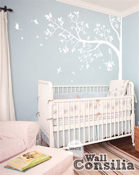 Tree Wall Decal Nursery Wall Decor White Tree Wall Mural White Wall Decals For Nursery