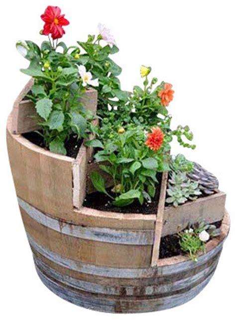 Rustic Flower Pots Planters by Multi Tier Barrel Planter Rustic Outdoor Pots And
