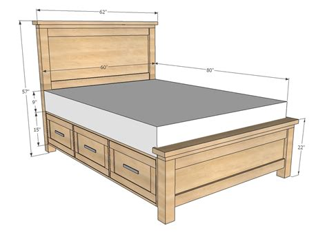 woodwork queen bed frame  drawers plans  plans