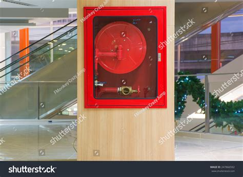 fire hose cabinet in the mall stock photo 247866592