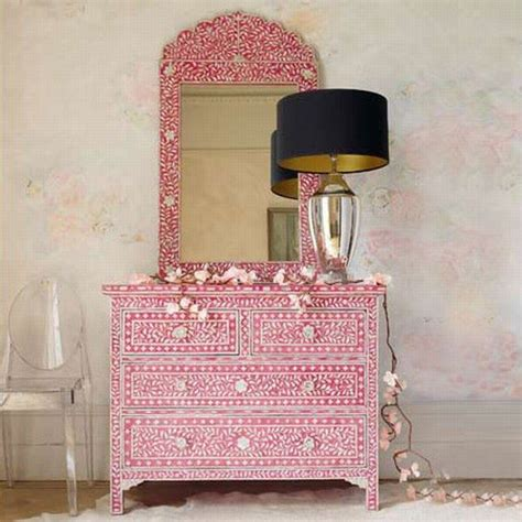 moroccan bedroom furniture pink handcrafted drawers with embedded mother of pearls