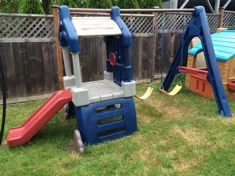tikes swing slide tikes clubhouse swing set and slide saanich
