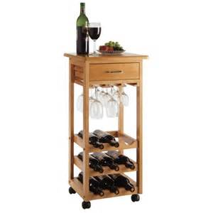 Winsome Wine Cabinet 9 Bottle Wine Cart With Glass Rack And Drawer 34333 By