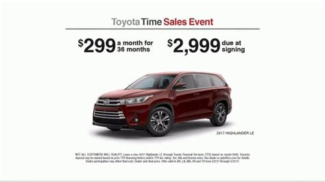 toyota time toyota time sales event tv commercial 2017 highlander le