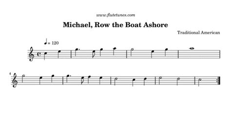 row your boat same tune as michael row the boat ashore trad american free flute