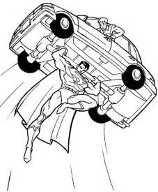 printable superman lifting car coloring pages