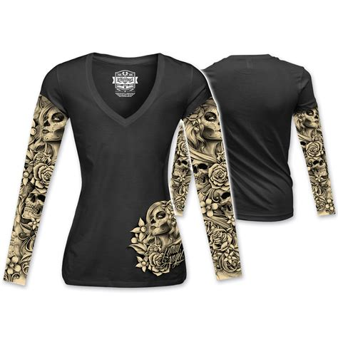 tattoo aftercare long sleeve lethal angel women s d o d tattoo sleeve black long