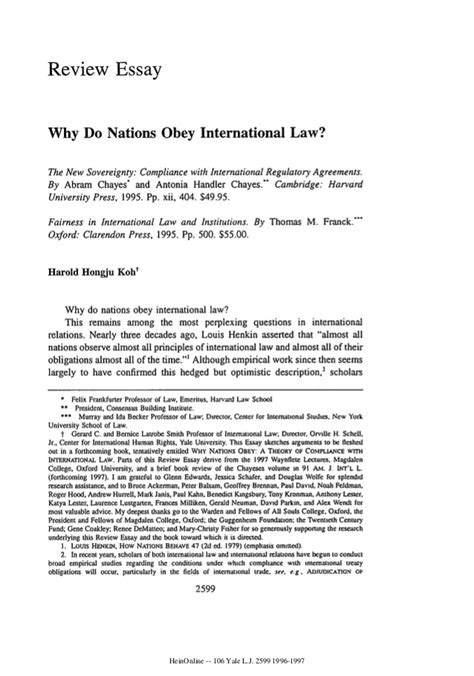 Obeying Essay by Why Do Nations Obey International