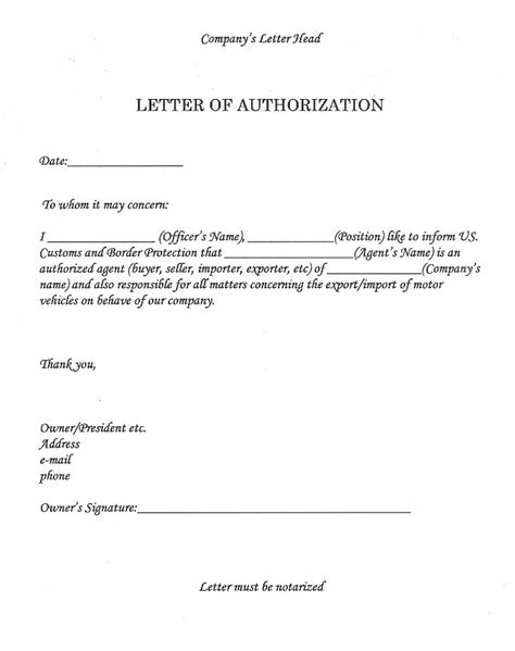 notarized letter of authorization template new notarized letter of authorization template free