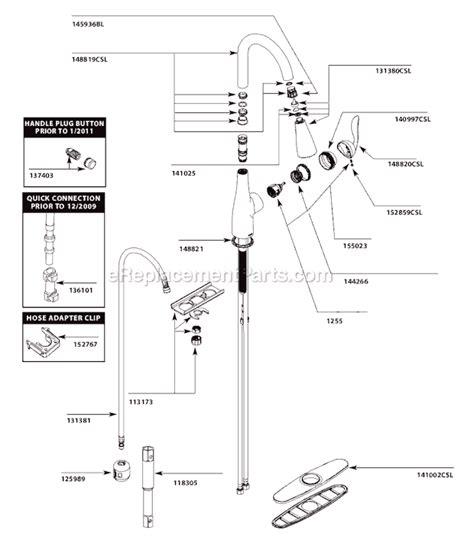 Moen Arbor Kitchen Faucet moen 7594csl parts list and diagram ereplacementparts com