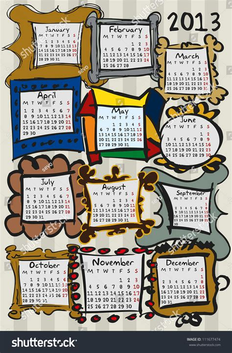 doodle calendar for calendar for 2013 doodle frames stock vector