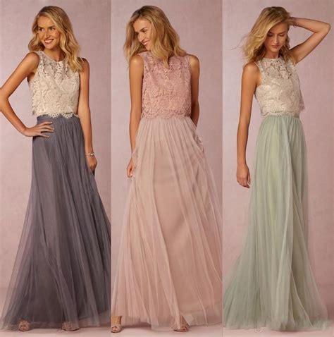 Dress Longcrop 95rb 2016 boho two pieces lace crop top tulle bridesmaid dresses burgundy prom gowns vestido de