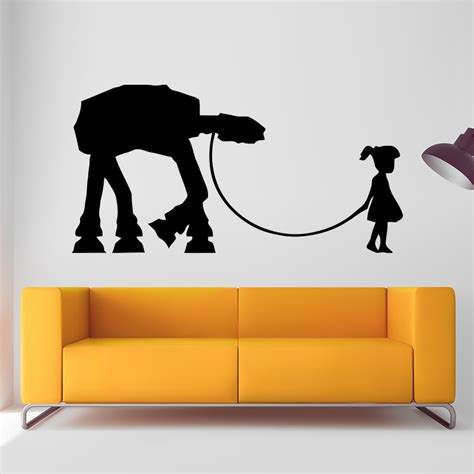 Banksy Wall Art Stickers aliexpress com buy banksy girl walking wall sticker home