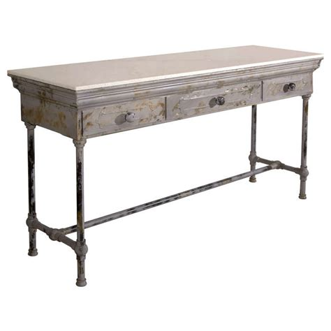 metal sofa table industrial marble top metal console table at 1stdibs