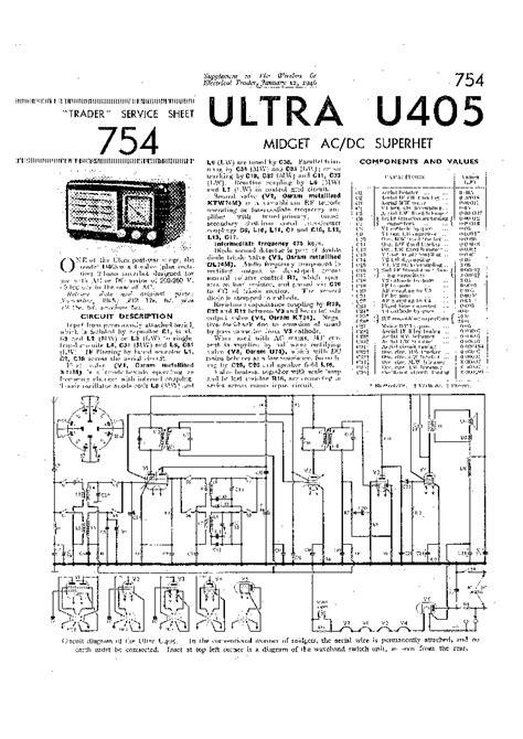 ULTRA U405 MIDGET AC-DC RADIO SM Service Manual download